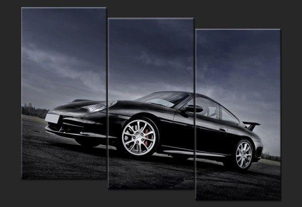 tableau triptyque contemporaine porsche noire 911 gt3 996 tableau toile voiture pinterest. Black Bedroom Furniture Sets. Home Design Ideas