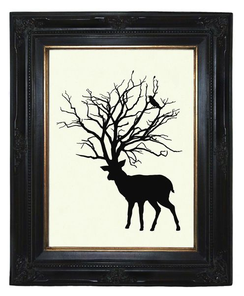 Hirsch Baum Geweih Rabe Silhouette Kunstdruck von oddemporium auf DaWanda.com