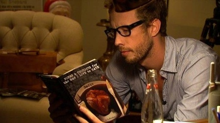 "Love love love a man who reads :D thank you ""The Untitled Work of Paul Shepard"" for this cap of Kris Holden-Ried"