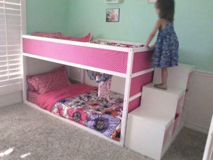 IKEA Kura bunk bed with Trofast stairs.