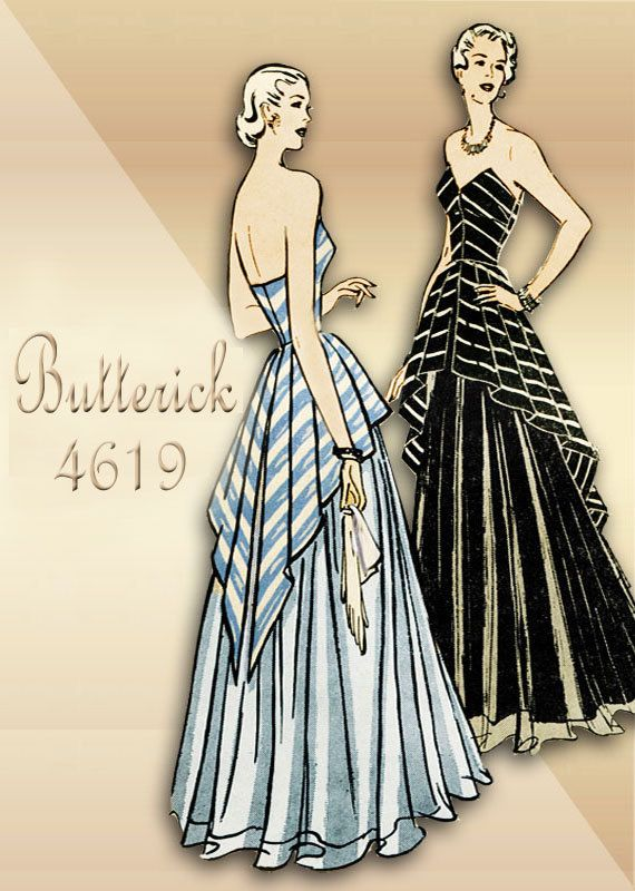 1940s Vintage Evening Dress Pattern Butterick 4619 Strapless Bodice with Peplum Overlay Rare Unused Pattern