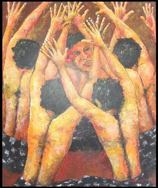 Kecak Dance, Acrylic on canvas, 120cm x 100cm, Artist : Aliyas