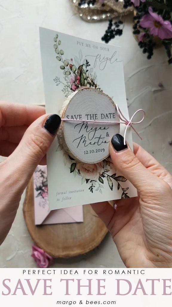Perfect idea for #savethedate - romantic flowers and wooden magnet  #rusticwedding #romnticweddingideas #savethedateideas