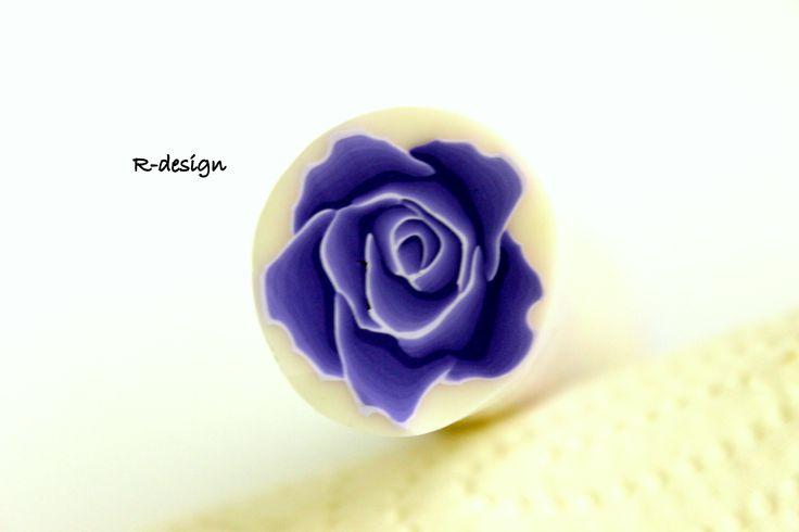 Polymer clay cane purple rose R-design