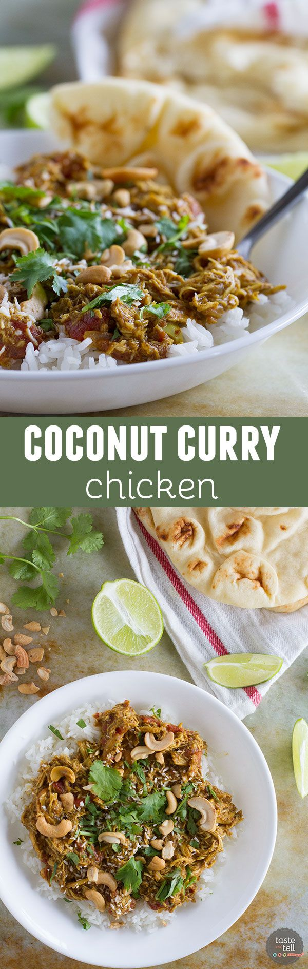 Coconut Curry Chicken is made easy by using cooked rotisserie chicken. This is a great weeknight meal filled with lots of flavor.: