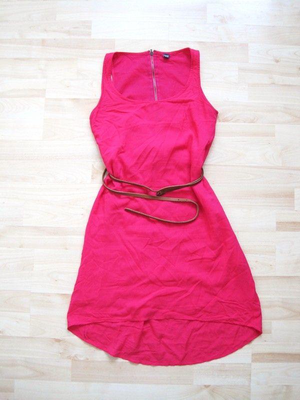 Pinkes Kleid mit asymmetrischer Schnitt von Pimkie (mit Doppelgürtel)