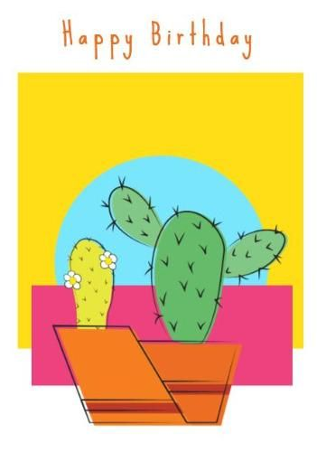 A Colorful Illustration Of Cacti For Happy Birthday Card Create Your Own Templates In