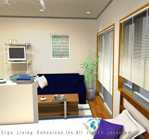 ベッドとソファーベッド両方を8畳のワンルームに置く配置 レイアウト3 8畳 レイアウト 部屋 レイアウト レイアウト