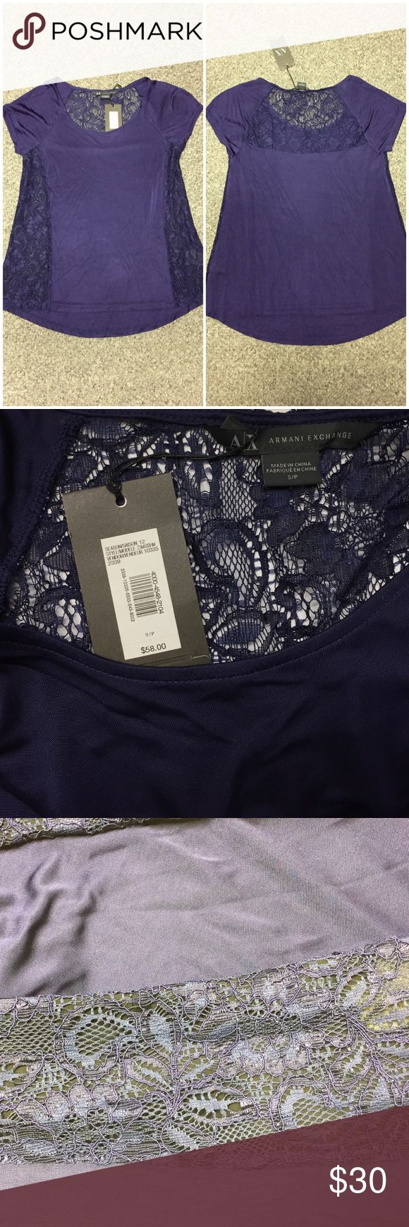 "A/X Armani Exchange lace paneled blouse 🌟NWT!🌟 A/X Armani Exchange blouse with lace details on the side and the top of the back. The blouse is made of rayon and has a silk-like look/feel to it. The color is called""ultraviolet"" and it has a purple/indigo look. 🌟Offers always welcome 🌟 NWT 🌟 A/X Armani Exchange Tops Blouses"