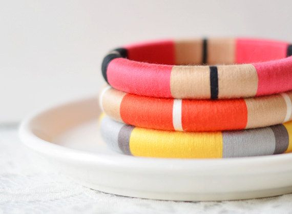 Bright. Geometric. Colorblock. Set of 3 Thread Bangles in Bright Summer Colors - no. 500D. $65.00, via Etsy.
