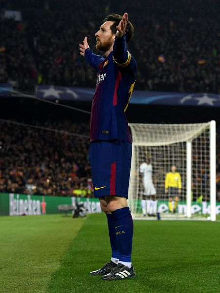 5bb0e340a Lionel Messi of Barcelona celebrates as he scores their third goal during  the UEFA Champions League Round of 16 Second Leg match FC Barcelona and  Chelsea FC ...
