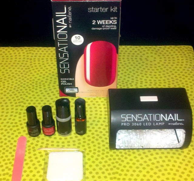 Sensationail Kit at-home gel nails! Trust me, this actually works like shellac but without the formol! I bought it thursday on CVS and my nails are intact after painting the whole weekend! -Roma
