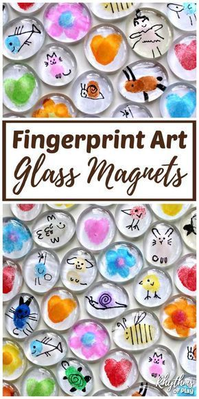 Fingerprint Art Glass Magnets Craft for Kids (VIDEO)