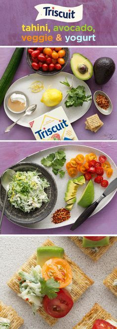 Veggie-lover? You'll definitely want to try these zesty & refreshing tahini-inspired bites! Mix yogurt & tahini in a medium bowl until blended, then add chopped cucumber & lemon zest, mixing lightly. Spoon cucumber mixture onto your favorite variety of TRISCUIT Crackers and top with tomatoes and avocados. Sprinkle with ground red pepper, top with cilantro for a finishing touch. You can also switch it up by substituting hummus for the tahini and/or finely shredded carrots for the cucu