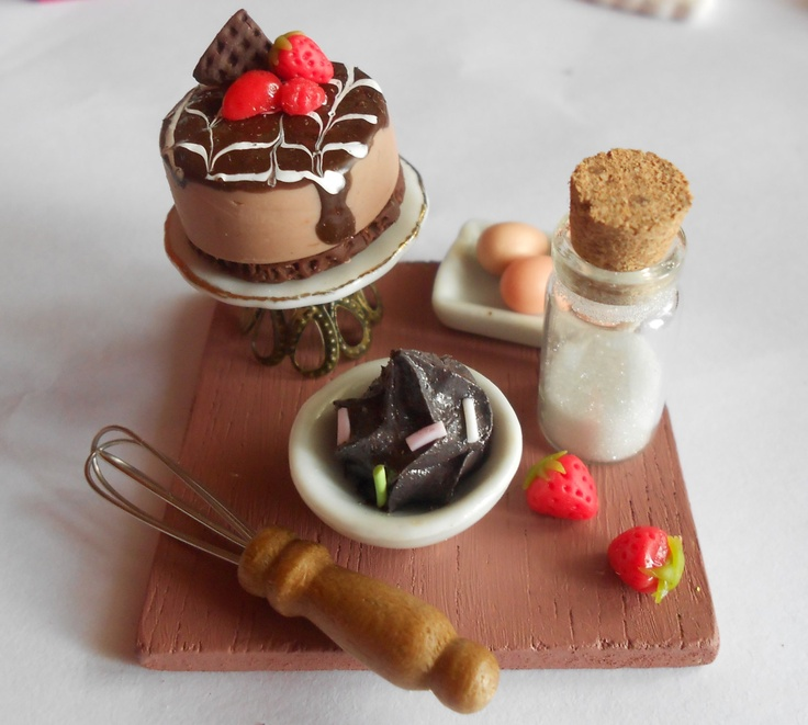 Making Strawberry and Chocolate cheesecake (on a cake stand) - Preparation board - Dollhouse Miniature - handmade polymer clay food. $22,00, via Etsy.