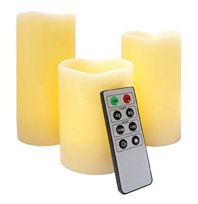 Mooncandles - 3 Real Wax Flameless Candles with Timer and Remote Control: Amazon.co.uk: Lighting