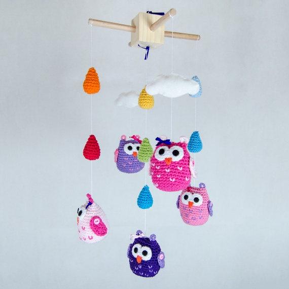 New Colorful Owls, Clouds and Rain Drops Crochet Mobile - Baby Mobile - Nursery Mobile - Crochet Mobile - Nursery Decor - Custom Colors. $90.00, via Etsy.