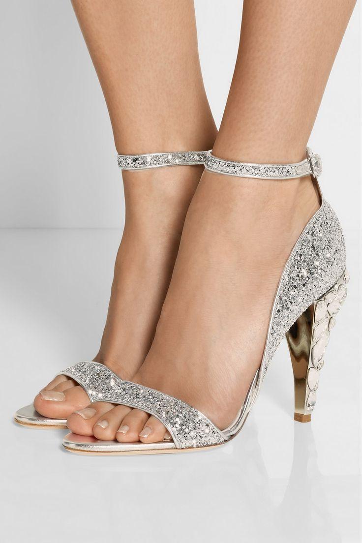 Miu Miu|Swarovski crystal-embellished glittered leather sandals|NET-A-PORTER.COM