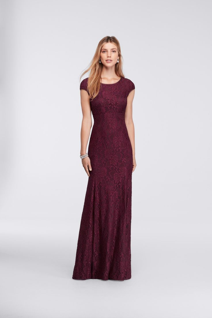 Long Sheath Cap-Sleeve Lace Burgundy Mother Of The Bride ...