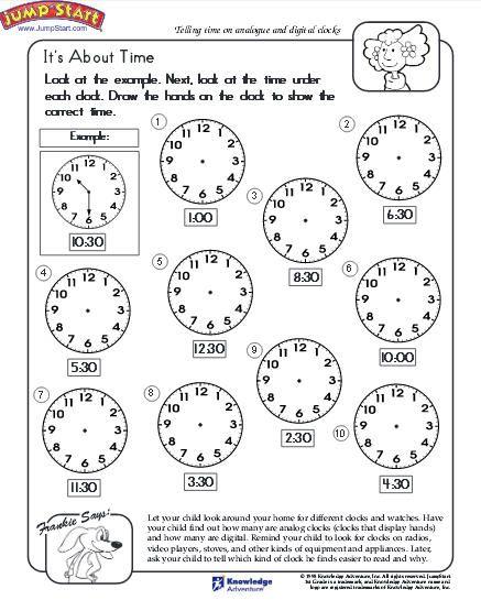 Telling Time Worksheets Kindergarten Free