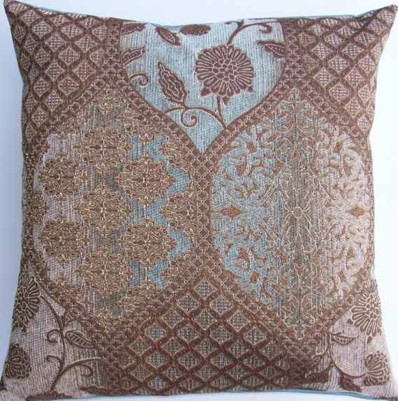 Brown and Robins Egg Blue Throw Pillow Cover - Light Brown and Spa Blue Cushion Cover - 16x16