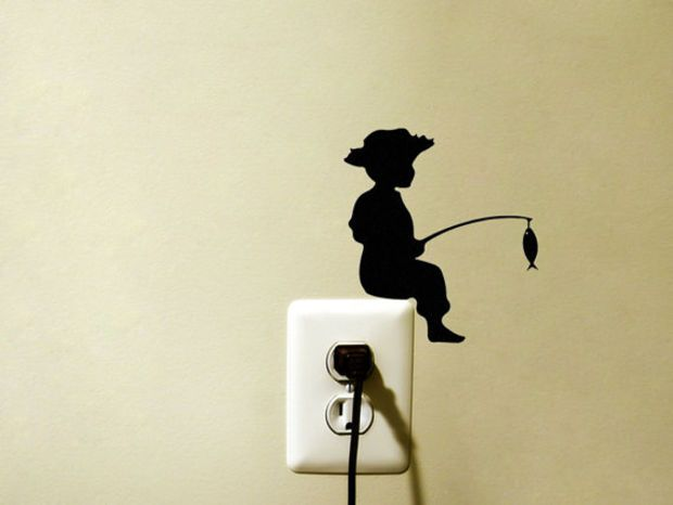 Fishing Velvet Wall Decal - Child Silhouette Wall Decor - Kid Wall Sticker - Fishing Decor