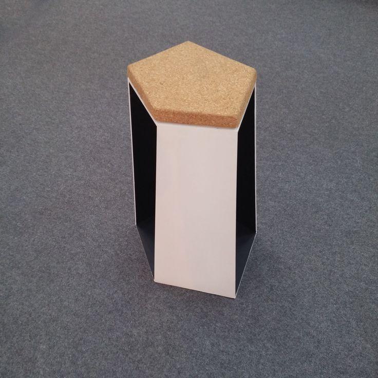 POLIGON bar stool - 6mm steel and cork seat