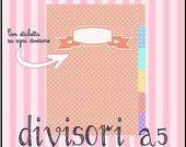 A5 size Pois dividers with labels -  divisori a pois con etichette per filofax formato A5  ---https://www.etsy.com/it/shop/LaliLunaStore