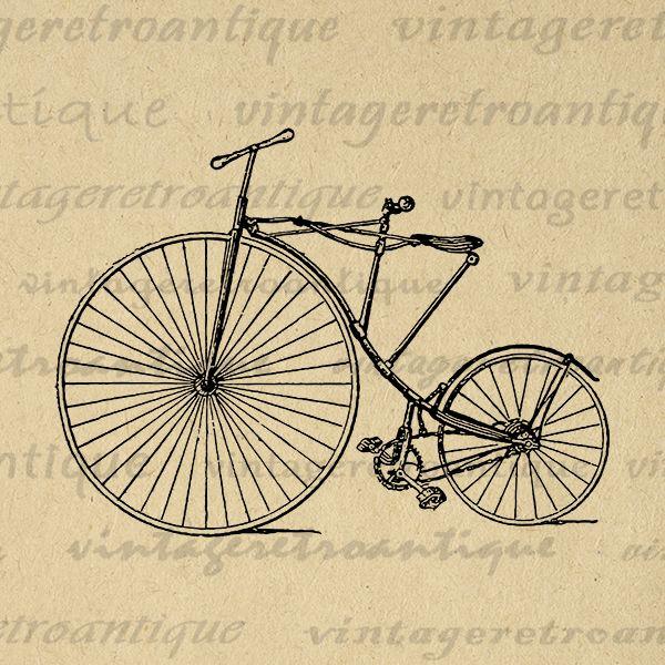 Antique Bicycle From 1880 Printable Graphic Download Bike Illustration Digital Image Artwork V Vintage Bicycle Art Prints Vintage Bicycle Art Bike Illustration