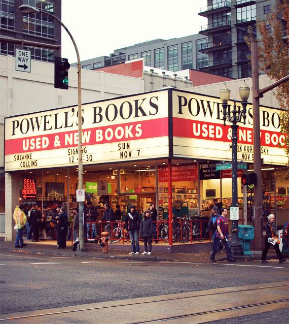 """Portland, OR -- Powell's Books. AKA """"City of Books"""". Claims to be the largest independent new and used bookstore in the world."""