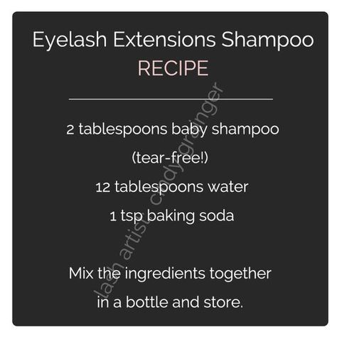 eyelash extensions care lash shampoo recipe