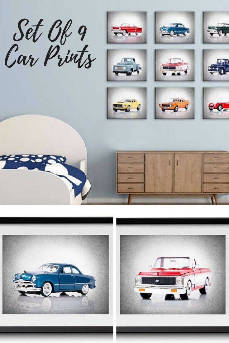 discount set of 9 cars and pickups wall prints , boys room decor