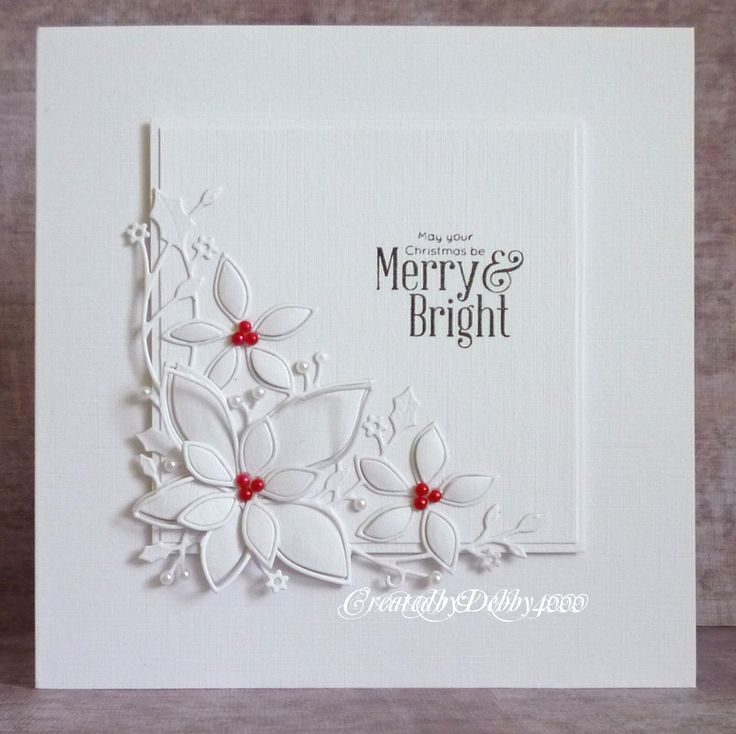 handmade card from A Scrapjourney: Christmas ... almost all white ... inner square panel with white die cut poinsettias and die cut holly ... three red pearls at center ... merry and bright sentiment  ... luv it!