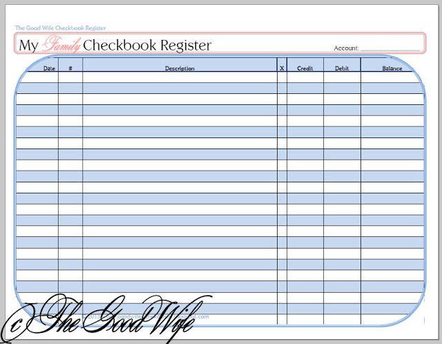 my checkbook register
