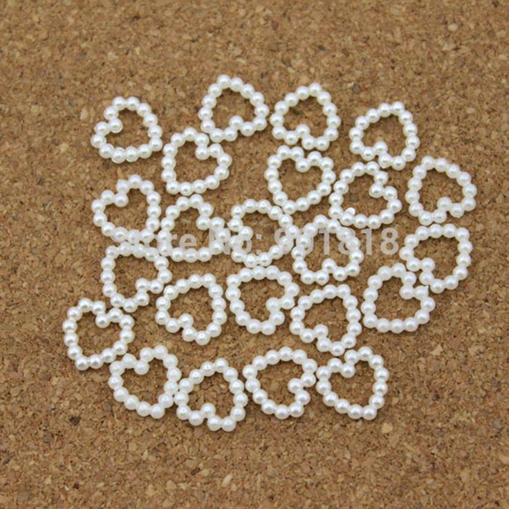 100 teile/los 11mm * 11mm Herz Weiß Flache Rückseite Simulierte Perlen Perlen Für Telefon Dekoration DIY Schmuck Material F1521