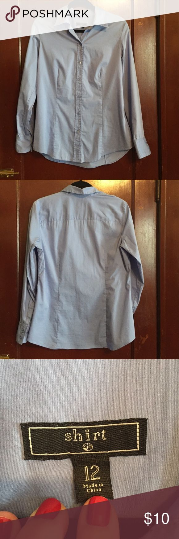 Light blue dress shirt Simple and elegant, hardly worn, replacement button included on inside tag. 70% cotton, 27% nylon, 3% spandex Tops Button Down Shirts