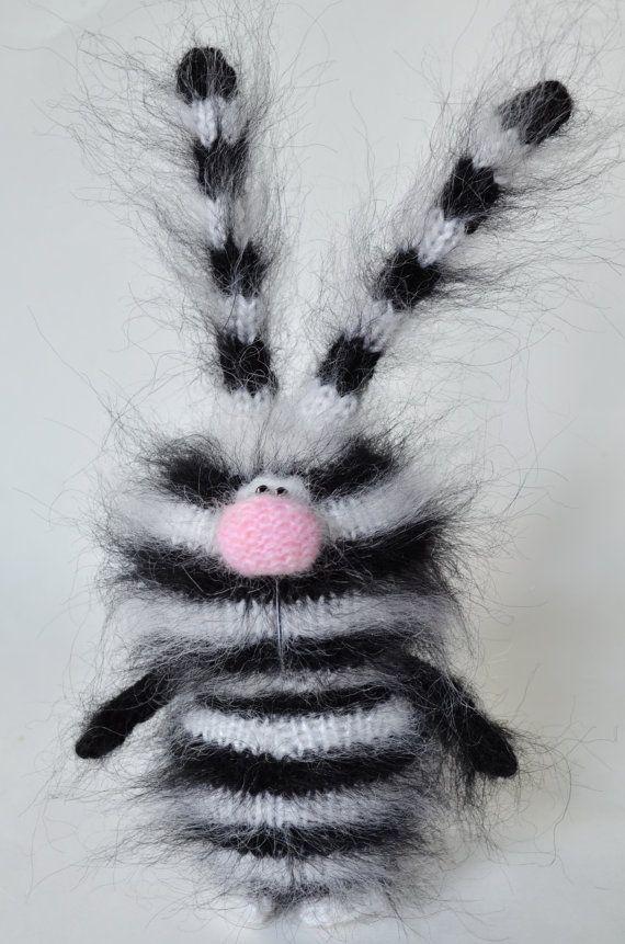 Black Bunny Striped Zebra Knitted rabbit от MiracleStore на Etsy