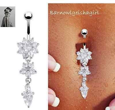 Surgical steel double #flower dangle #belly button rings body piercing #navel bar,  View more on the LINK: http://www.zeppy.io/product/gb/2/122043400070/