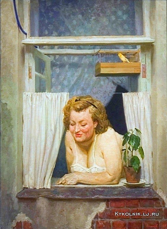 Коржев-Чувелёв Гелий Михайлович (Россия, 1925-2012) «Соседка из дома напротив» 1954