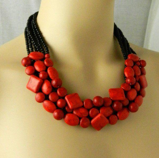 Ploy corallo rosso!-Collana con filo, con onice nero PN17 in argento Sterling 925