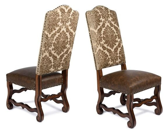 Champagne Chenille Fabric U0026 Leather Tuscan Dining Chairs, Spanish Dining  Chairs. FREE SHIPPING