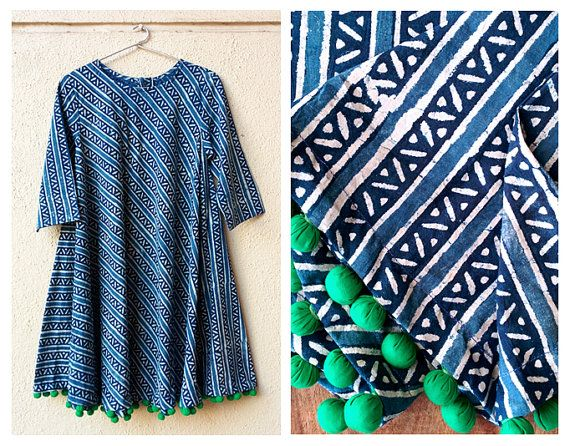 Indigo Hand Block Printed Swing Dress with Handmade Pompoms