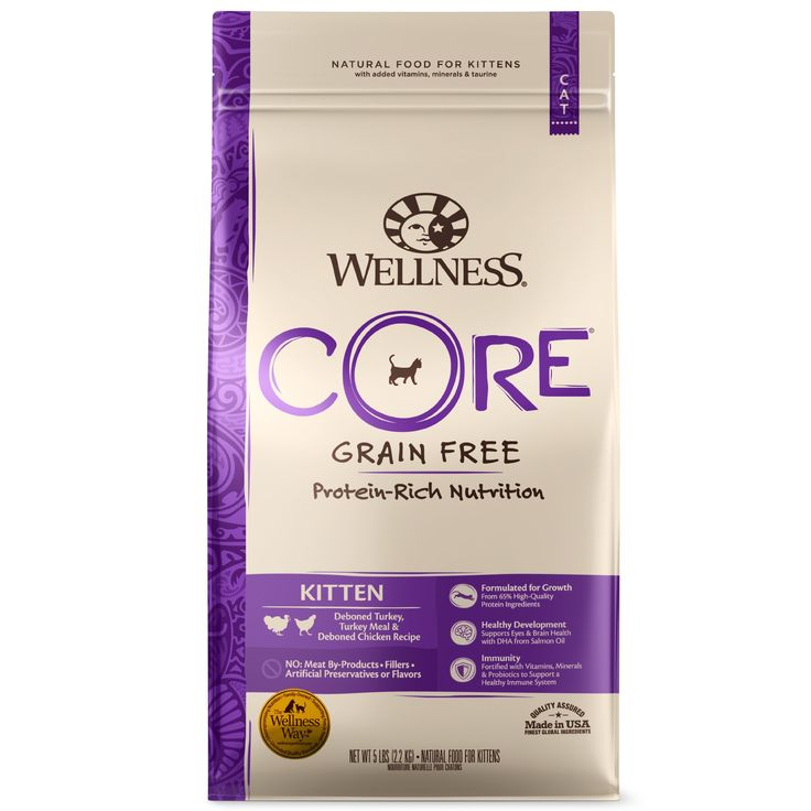 Wellness Core Natural Grain Free Turkey Whitefish Chicken Dry Kitten Food 5 Pound Bag 5 Lbs In 2020 Wellness Core Kitten Food Chicken Recipes Dry