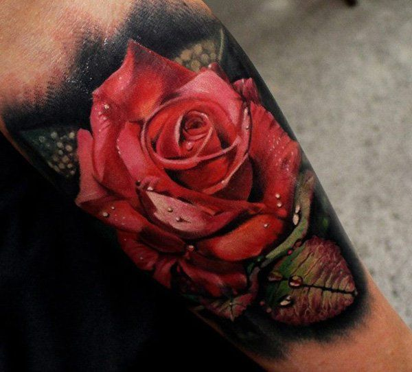 3D red Roses Tattoo - 65  Beautiful Flower Tattoo Designs  <3 <3