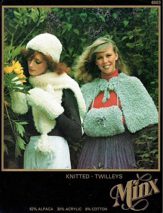 PDF 1970s Womens Ladies Cape & Muff Knitting Pattern Twilleys