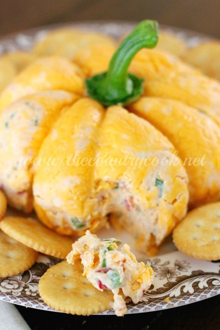 Pumpkin-Shaped Cheese Ball - The Country Cook