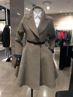 Belt Lapel Pleated Solid Pockets Long Coat