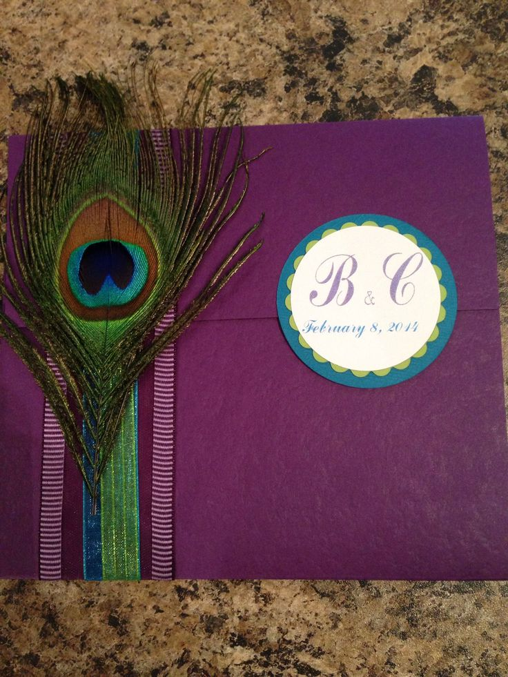 I know this is a wedding invite, but kinda along the lines I was thinking when I mentioned adding some peacock in with the purple and teal