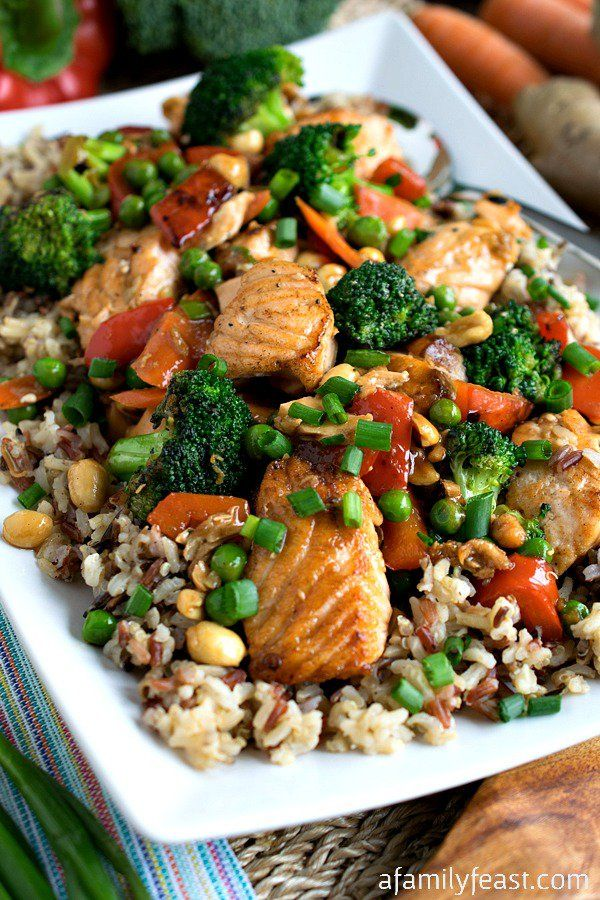 Stir Fry Salmon and Vegetables with Multi-Grain Medley - Quick, easy and delicious! (Healthy too!)