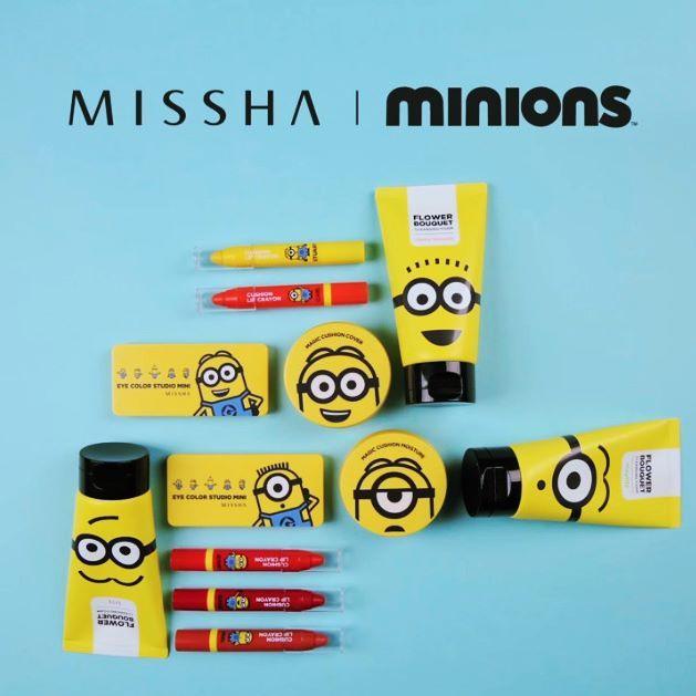 Missha x Minions line up! :) #missha #minions #collaboration #eyeshadowpalette #cushion #lipcrayon #cleansingfoam